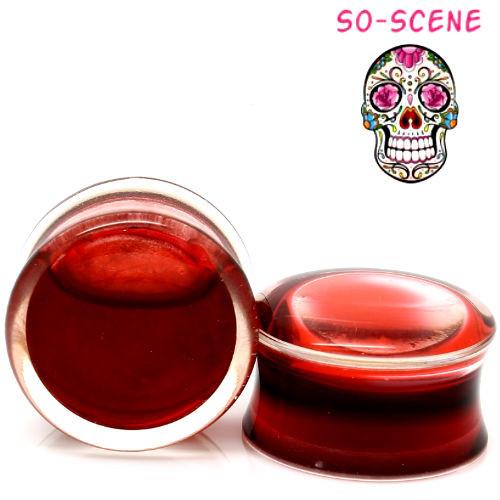 blood filled ear gauges liquid blood ear plugs