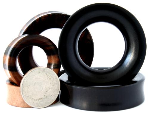 EXTREME SIZE BLACK ARENG WOOD EAR GAUGES TUNNELS IN 32MM,34MM,36MM,38MM,40MM,42MM,44MM,46MM,48MM,50MM