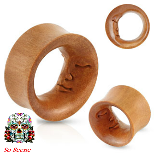 SAWA WOOD EAR GAUGES -HAND CARVED MOON EAR PLUGS