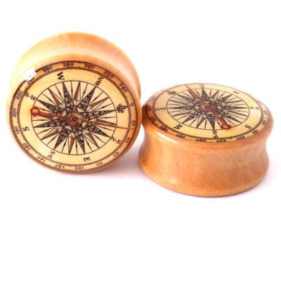 WOOD COMPASS EAR GAUGES DOUBLE SADDLE EAR PLUGS