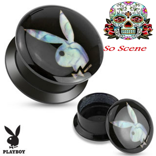 Add a Product - Mother of Pearl Inlay Officially licensed Playboy Jewelry Playboy Bunny Acrylic Screw ear gauges