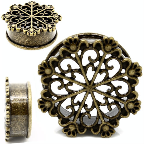 TRIBAL SNOWFLAKE ANTIQUED BRASS EAR GAUGE PLUGS