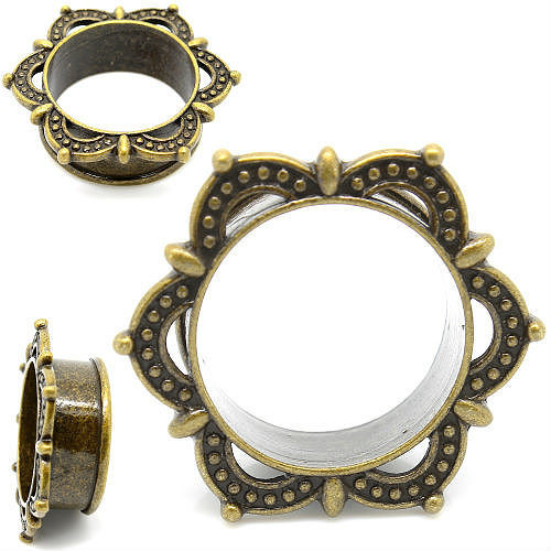 TRIBAL RIBBON LACED TUNNELS ANTIQUED BRASS EAR GAUGE PLUGS