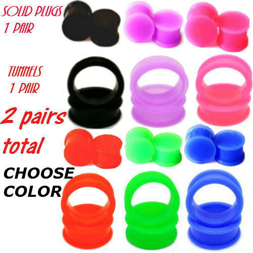 SOLID SOFT SILICONE EAR GAUGES SILICONE PLUGS AND TUNNELS COMBO -2 PAIRS TOTAL