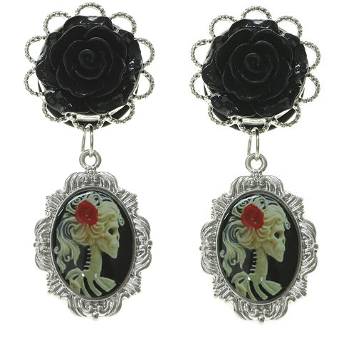 Black Rose Dangle Yellow Cameo Picture Charm Stainless Steel Plugs