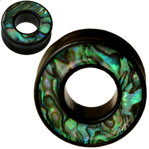 Black Areng wood & Abalone Shell TUNNEL Plugs 100% organic
