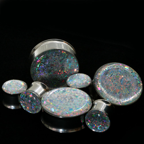 Stainless Glitter Prism Ear Plugs double saddle