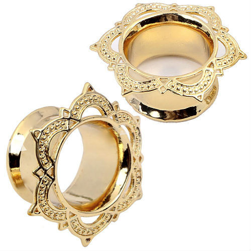 TRIBAL RIBBON LACED TUNNELS GOLD PLATED EAR GAUGE PLUGS