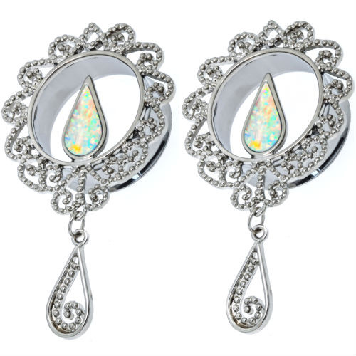 Stainless Steel Dangle Stainless Steel Plugs with Fire Opal Center