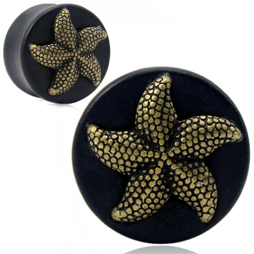 Black Areng Wood and Brass Starfish Plugs