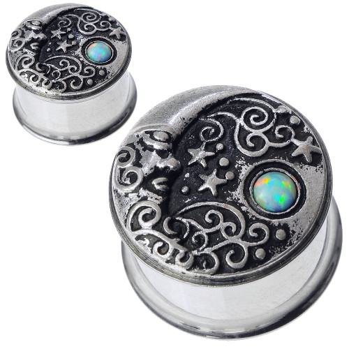 Stainless Steel Half Moon and Star with White Fire Opal Ear Gauges