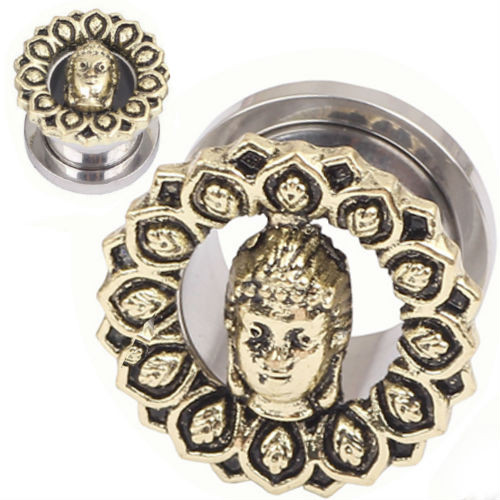 Stainless Steel with Gold Buddha  Gautama Tunnel Screw Back  Ear Gauges