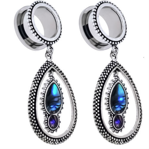 Stainless Steel Screw Back Ear Plugs with Abalone Shell Tear Drop Dangle