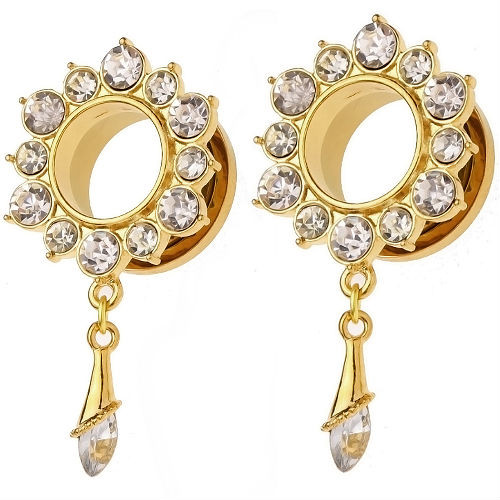 GOLD PLATED Stainless Steel  Flower  W/Dangle Gems Screw Back Ear Tunnels