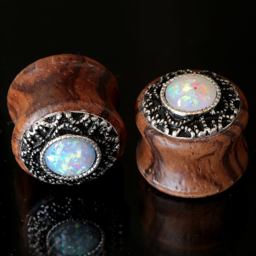 Tiger wood With White Opal and Steel filigree Ear Plugs