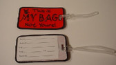 Luggage Tag  with ILY Sign Hand (Red and Black Merrow Embroirdery)