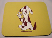 Dog (brown) with Sign ILY Mouse Pad (Yellow)