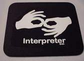 Interpreter Mouse Pad Black (White Print) LARGE