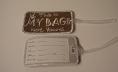 Luggage Tag  with ILY Sign Hand (Brown and White Merrow) Embriodery