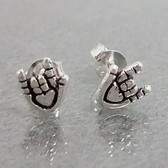 Cutie Tiny I LOVE YOU with heart Earring Sterling Silver