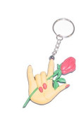 Rose with ILY hand Keychain PVC