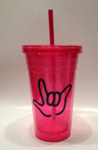 Tumbler with Straw Small Pink with Black I LOVE YOU ( 16 oz.)