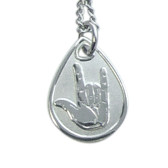 """Tear Drop Tag """"I LOVE YOU"""" Sign Hand (Gold or Silver)"""
