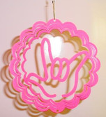 "Suncatchers Wind Illusions I LOVE YOU hand Small 6"" Pink"