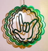 "Suncatchers Wind Illusions I LOVE YOU hand Small 6"" Green"