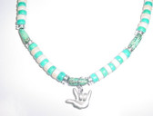 """Teal Beads with Pewter """"I LOVE YOU"""" Sign hand Necklace"""