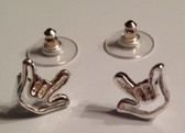 """Outline Sign hand """" I LOVE YOU """" Tiny Post Earring (Silver)"""