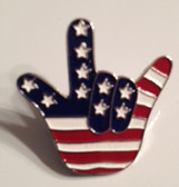 USA with I LOV E YOU Hand Pin