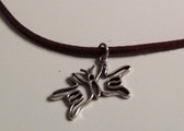 "Butterfly Sign hands I LOVE YOU Necklace Suede (Brown) with adjustable chain 18"" to 20 """