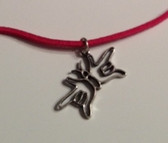 "Butterfly Sign Hands I LOVE YOU Necklace Suede (Hot Pink) with adjustable chain 18"" to 20 """