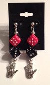 "Red and Black Dice with Sign Hand  "" I LOVE YOU "" Earrings"