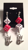 "White and Red Dice with Sign Hand "" I LOVE YOU "" Earrings"