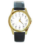Watches Round Sign with Finger Number (Gold)