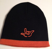 Knit Skull Cap Black w/Orange Strip (OUTLINE I LOVE YOU HAND)