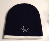 Knit Skull Cap Navy w/ White Strip ( DRAW I LOVE YOU HAND)