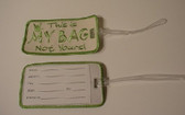 Luggage Tag with ILY Sign Hand (Tan and Lime Merrow) Embroidery