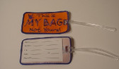 Luggage Tag with ILY Sign hand (Orange and Royal Merrow) Embroidery