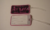 Luggage Tag with ILY Sign Hand (Black and Pink Merrow) Embroidery
