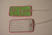 Luggage Tag with ILY Sign Hand (Lime and Pink Merrow) Embroidery