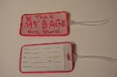 Luggage Tag with ILY Sign Hand (Pink and Hot Pink Merrow) Embroidery