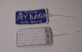Luggage Tag with ILY Sign Hand (Royal and White Merrow) Embriodery