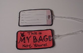 Luggage Tag with ILY Sign Hand (Pink and Black Merrow) Embriodery