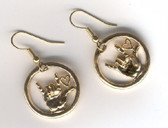 I LOVE YOU Circle w/heart Earrings Gold or Silver
