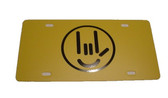 Auto License Plate with Smiley I LOVE YOU (Yellow/Black)