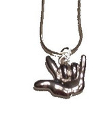 Cartoon hand I LOVE YOU Necklace (SILVER PLATED)