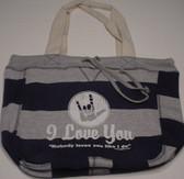 Beachcomber  Bag with No Body Loves You White (Navy Bag)